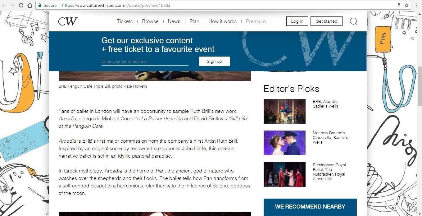 Screenshot of Culture Whisper content by Georgina Butler. Preview of Birmingham Royal Ballet: Penguin Café Triple Bill, image 3