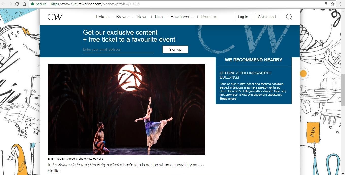 Screenshot of Culture Whisper content by Georgina Butler. Preview of Birmingham Royal Ballet: Penguin Café Triple Bill, image 4