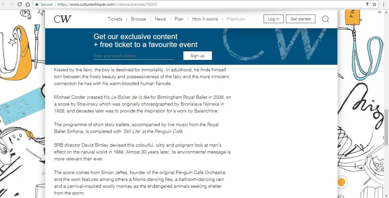 Screenshot of Culture Whisper content by Georgina Butler. Preview of Birmingham Royal Ballet: Penguin Café Triple Bill, image 5