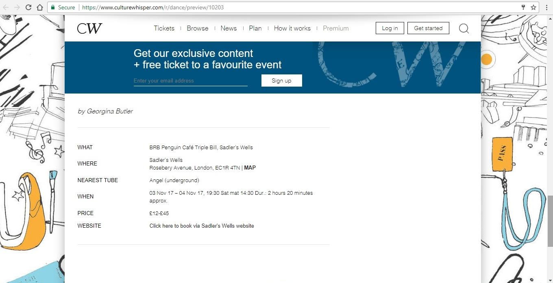 Screenshot of Culture Whisper content by Georgina Butler. Preview of Birmingham Royal Ballet: Penguin Café Triple Bill, image 6
