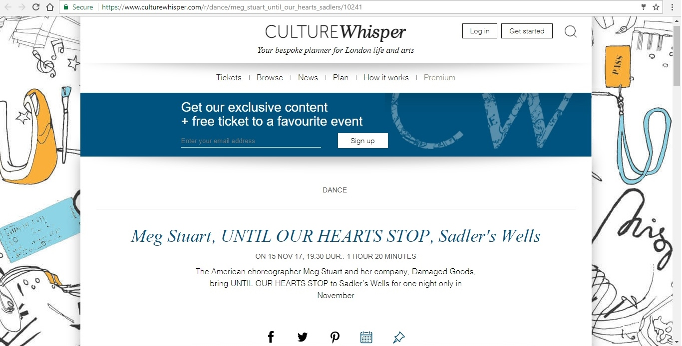 Screenshot of Culture Whisper content by Georgina Butler. Preview of Meg Stuart: Until Our Hearts Stop, image 1