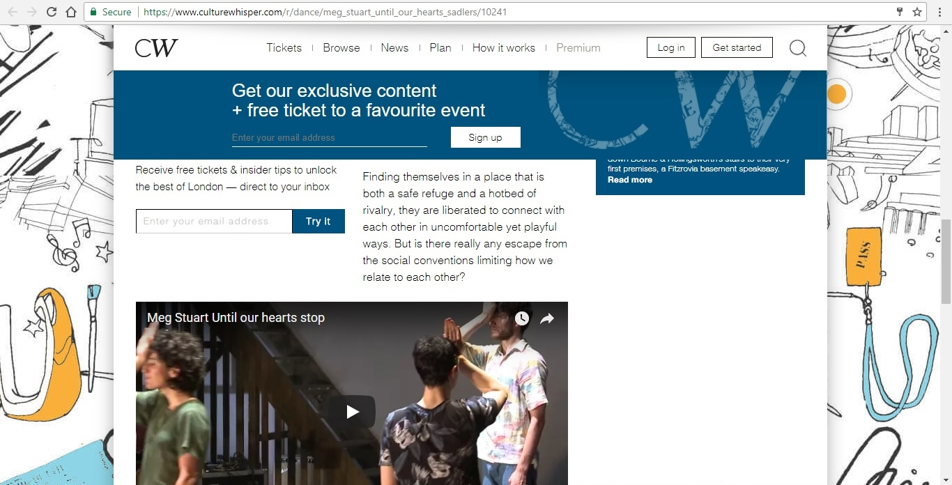Screenshot of Culture Whisper content by Georgina Butler. Preview of Meg Stuart: Until Our Hearts Stop, image 4