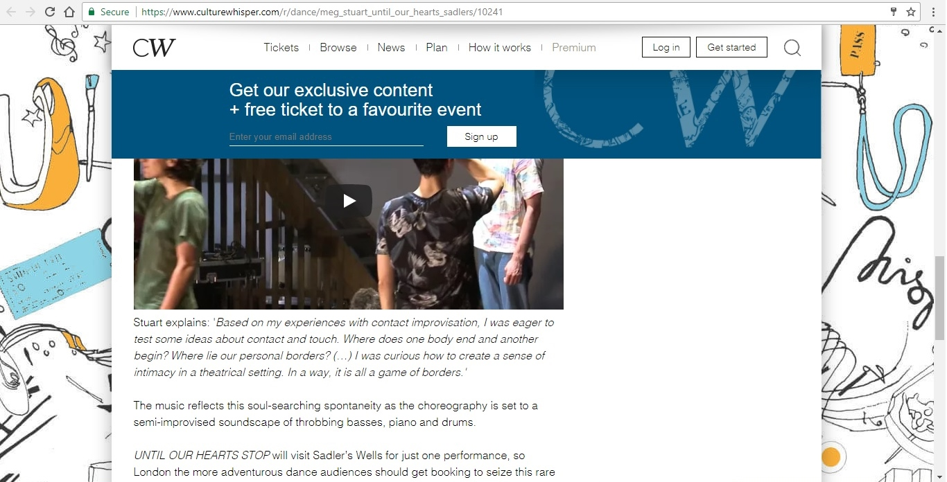 Screenshot of Culture Whisper content by Georgina Butler. Preview of Meg Stuart: Until Our Hearts Stop, image 5