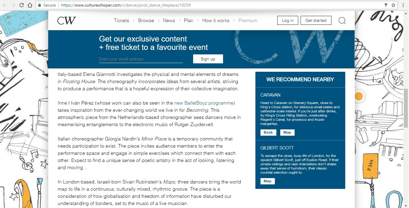 Screenshot of Culture Whisper content by Georgina Butler. Preview of Pivot Dance, image 4