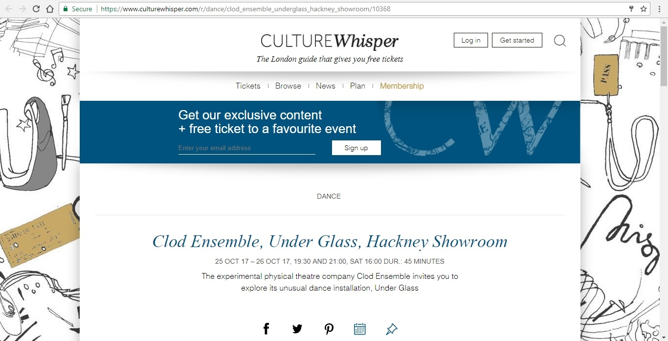 Screenshot of Culture Whisper content by Georgina Butler. Preview of Clod Ensemble: Under Glass, image 1