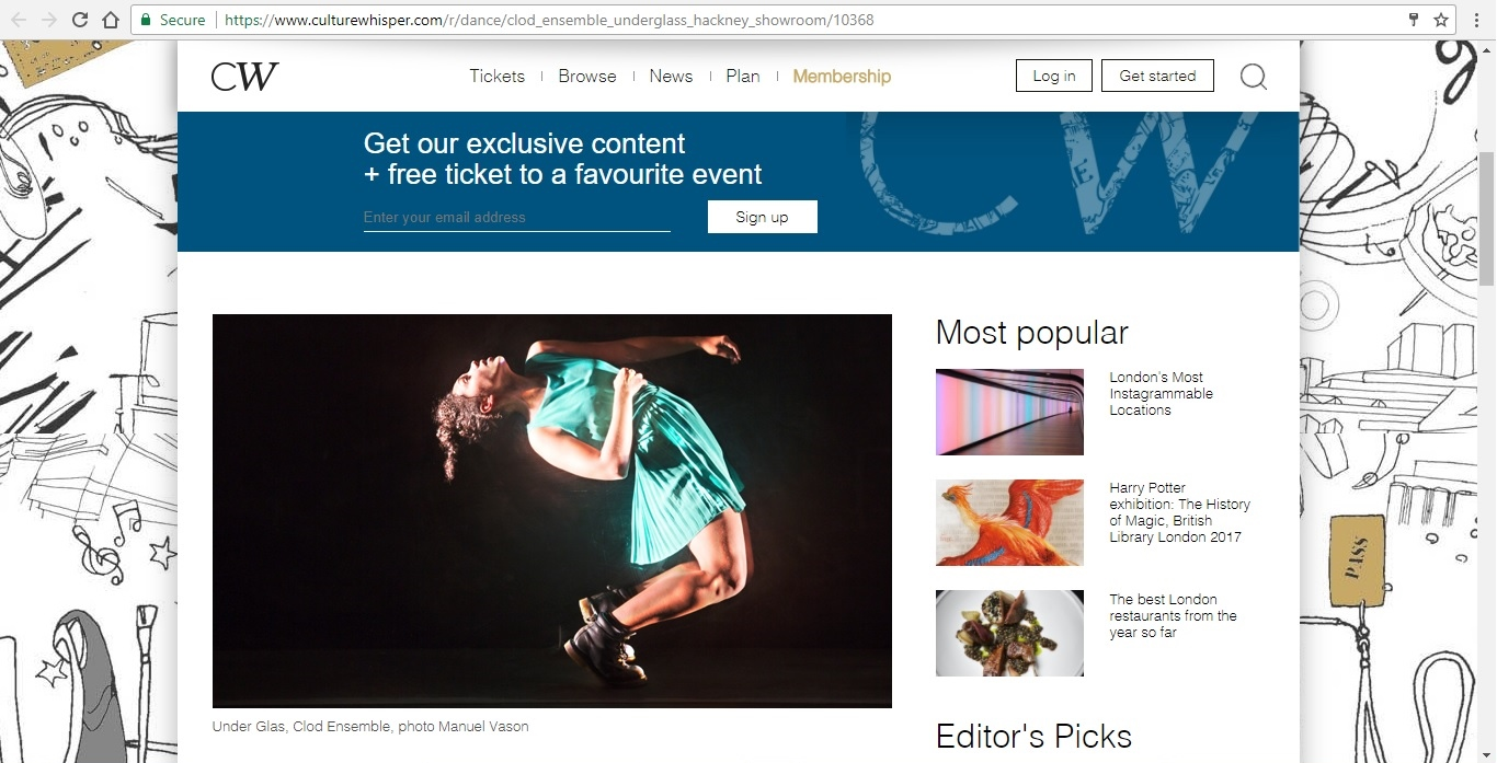 Screenshot of Culture Whisper content by Georgina Butler. Preview of Clod Ensemble: Under Glass, image 2