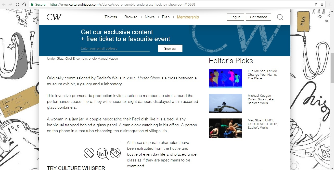Screenshot of Culture Whisper content by Georgina Butler. Preview of Clod Ensemble: Under Glass, image 3