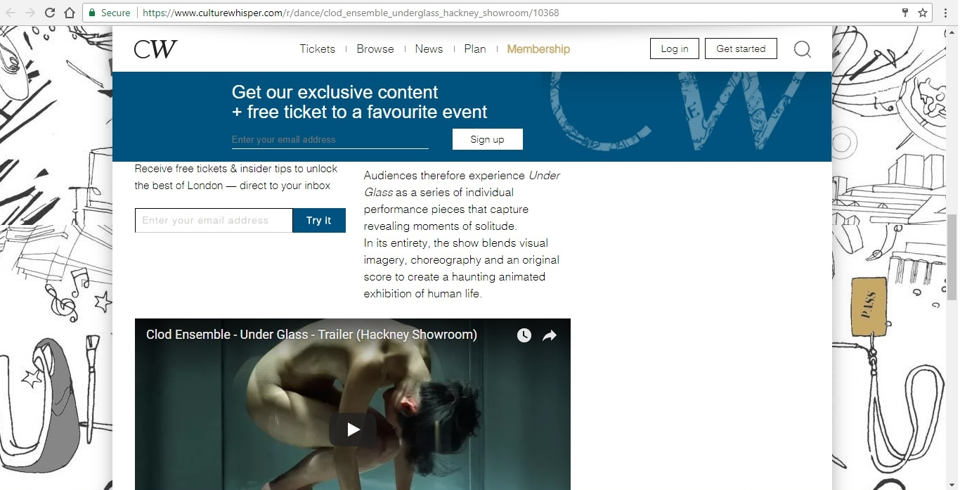 Screenshot of Culture Whisper content by Georgina Butler. Preview of Clod Ensemble: Under Glass, image 4
