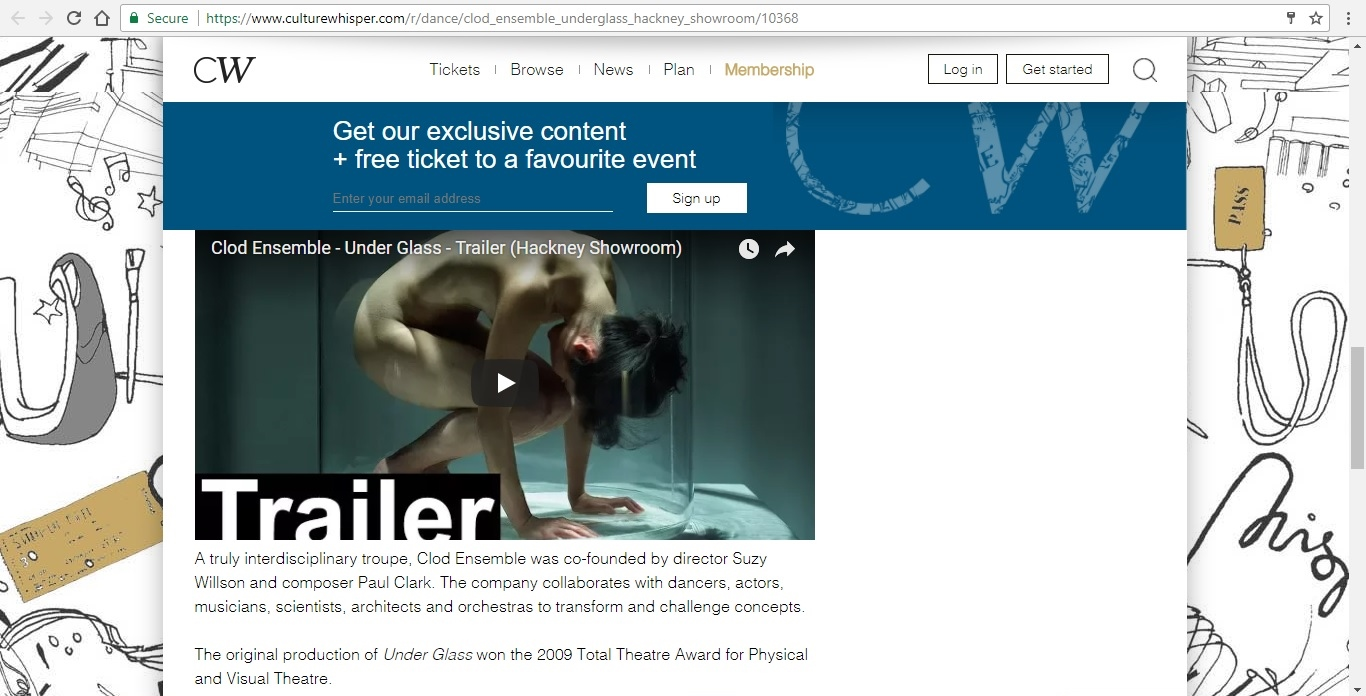 Screenshot of Culture Whisper content by Georgina Butler. Preview of Clod Ensemble: Under Glass, image 5