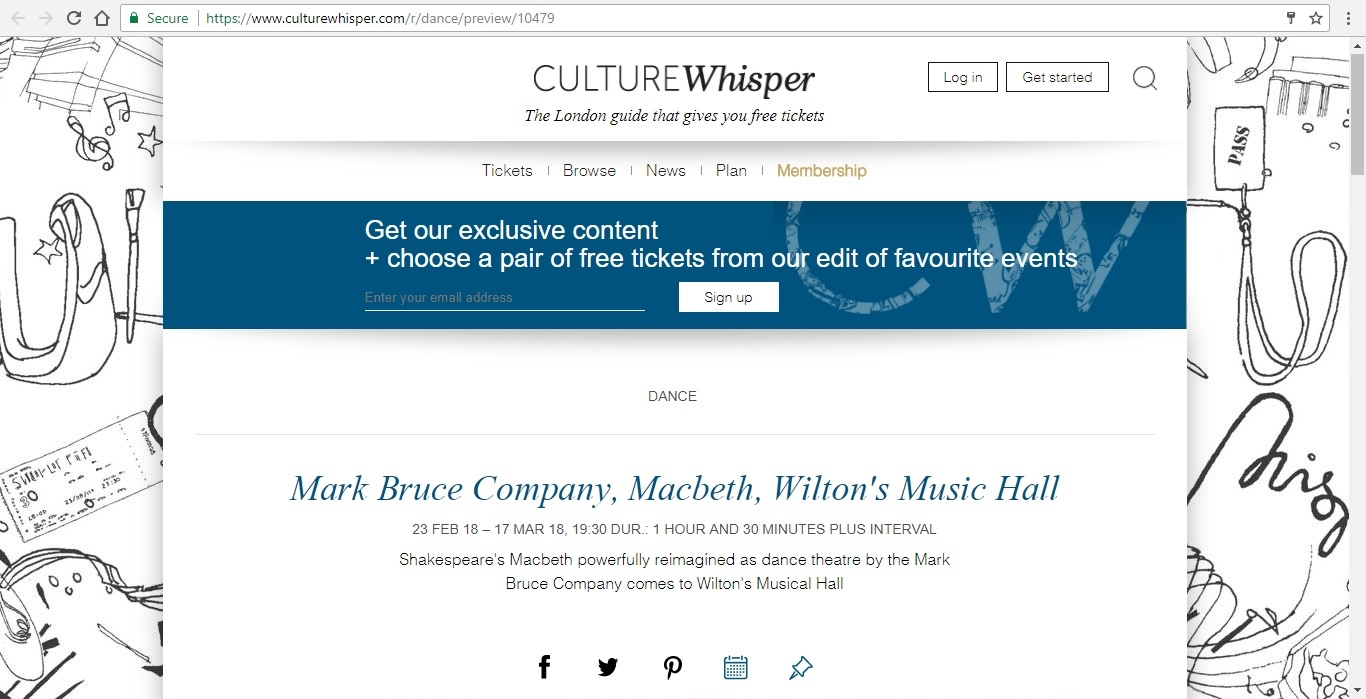 Screenshot of Culture Whisper content by Georgina Butler. Preview of Mark Bruce Company: Macbeth, image 1