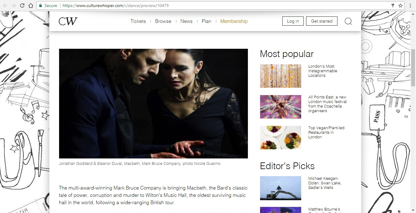 Screenshot of Culture Whisper content by Georgina Butler. Preview of Mark Bruce Company: Macbeth, image 2