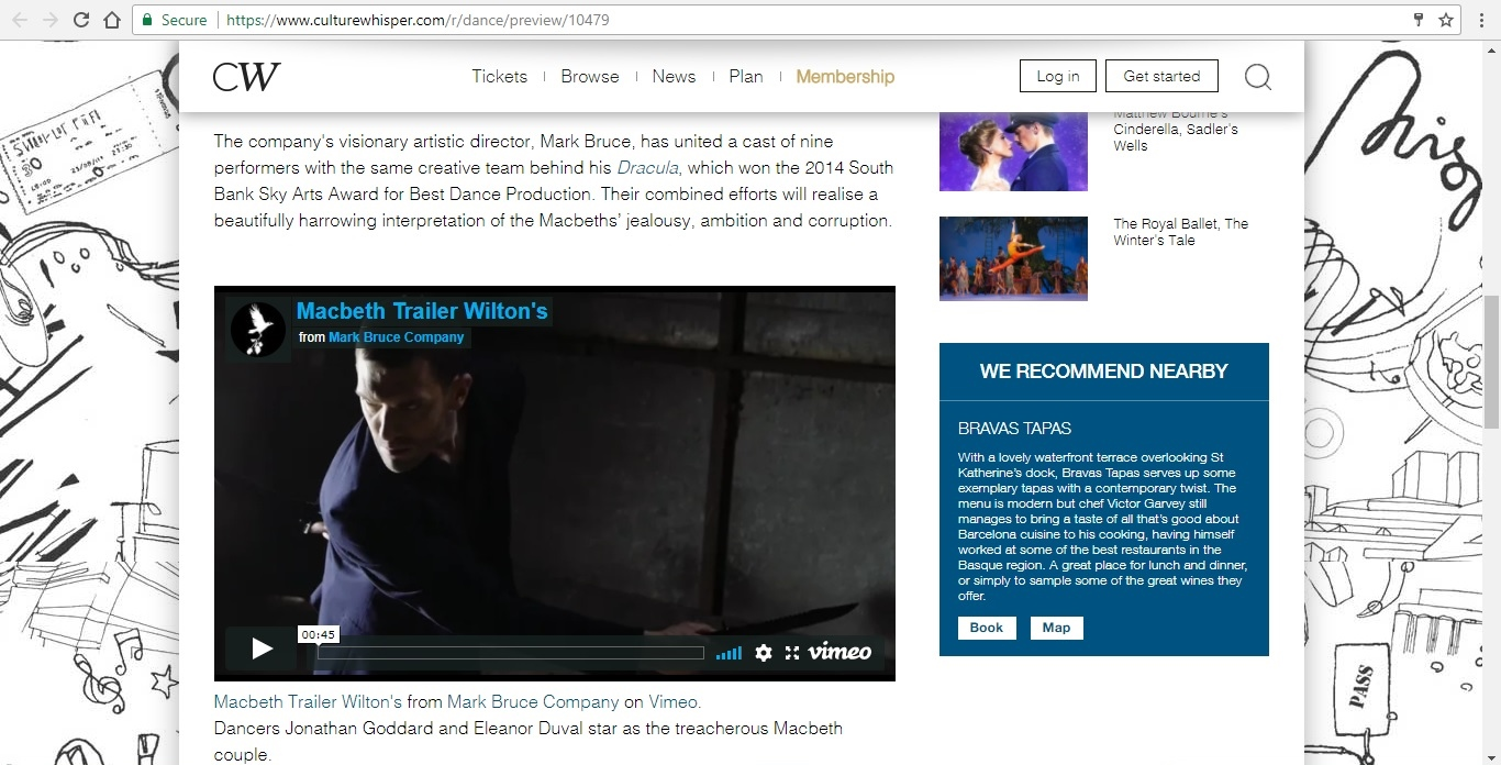Screenshot of Culture Whisper content by Georgina Butler. Preview of Mark Bruce Company: Macbeth, image 3