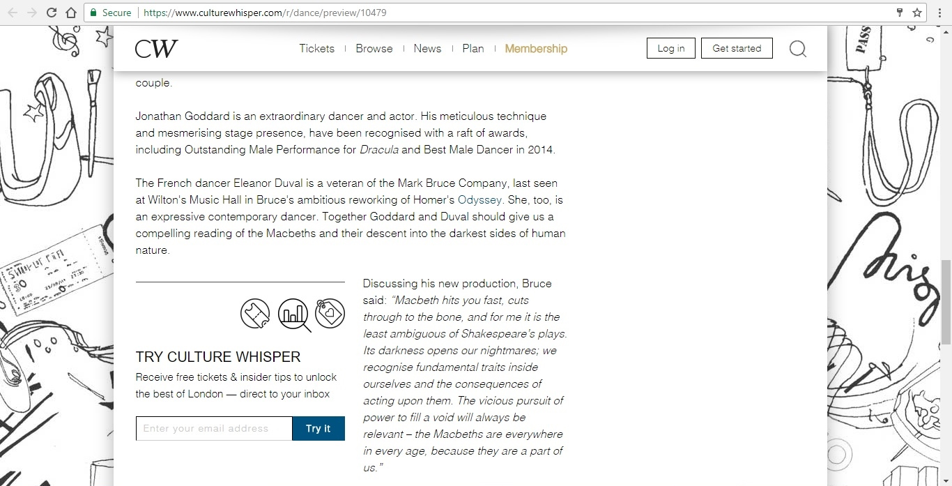 Screenshot of Culture Whisper content by Georgina Butler. Preview of Mark Bruce Company: Macbeth, image 4