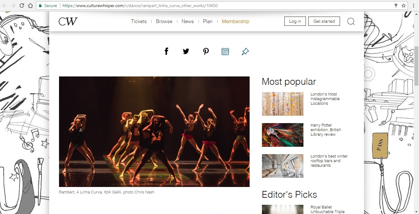 Screenshot of Culture Whisper content by Georgina Butler. Preview of Rambert: A Linha Curva and other works, image 2