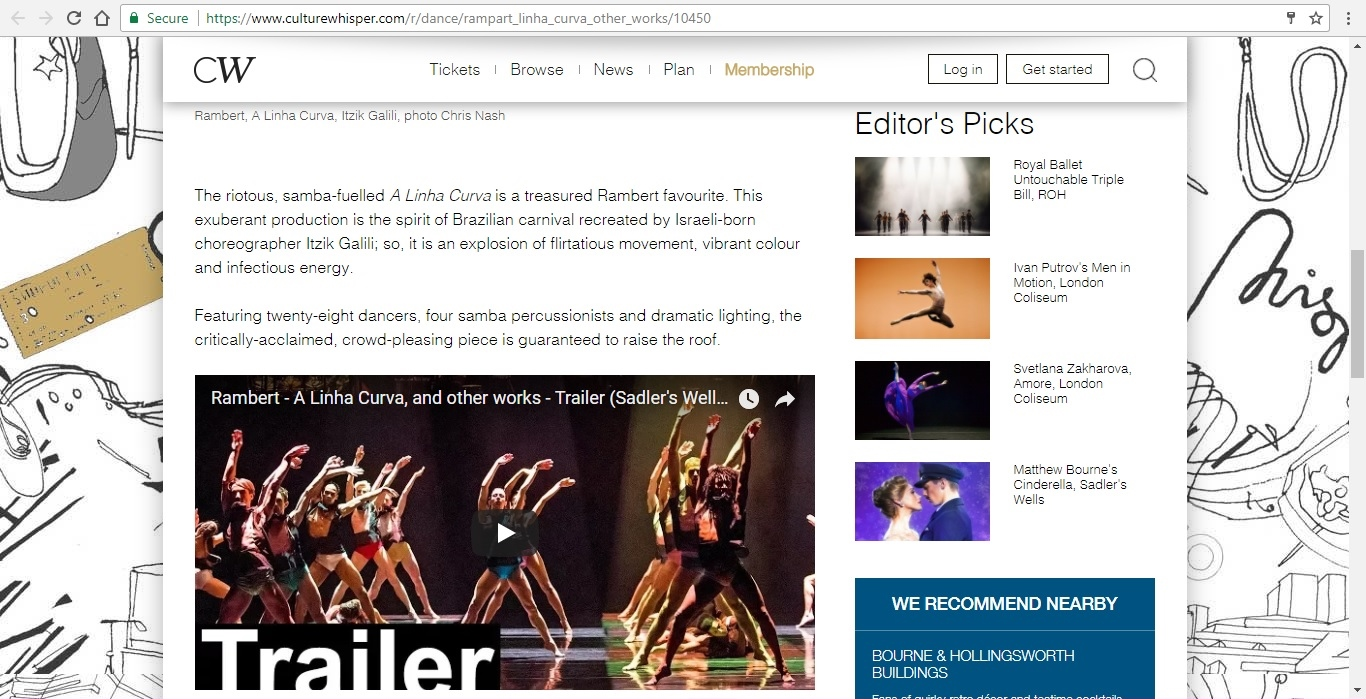 Screenshot of Culture Whisper content by Georgina Butler. Preview of Rambert: A Linha Curva and other works, image 3