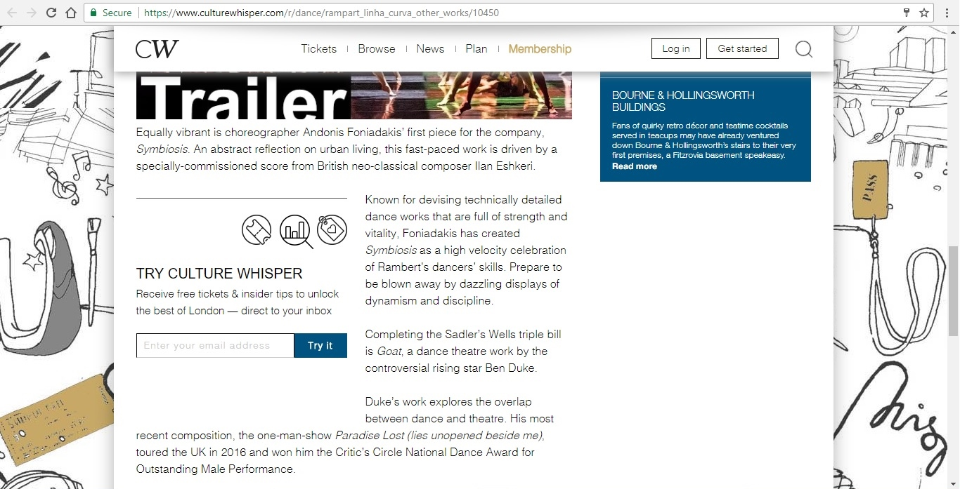 Screenshot of Culture Whisper content by Georgina Butler. Preview of Rambert: A Linha Curva and other works, image 4