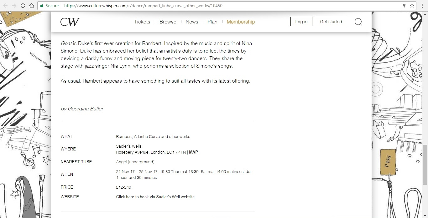 Screenshot of Culture Whisper content by Georgina Butler. Preview of Rambert: A Linha Curva and other works, image 5