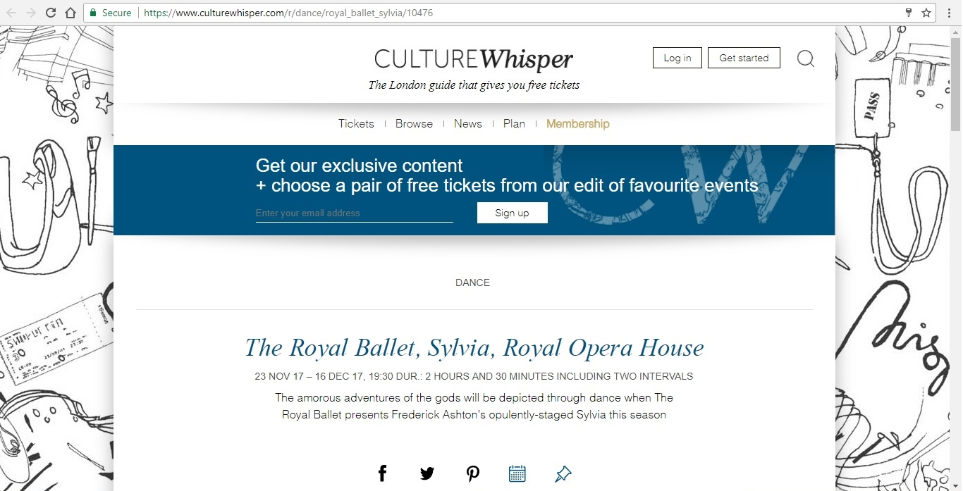Screenshot of Culture Whisper content by Georgina Butler. Preview of The Royal Ballet: Sylvia, image 1