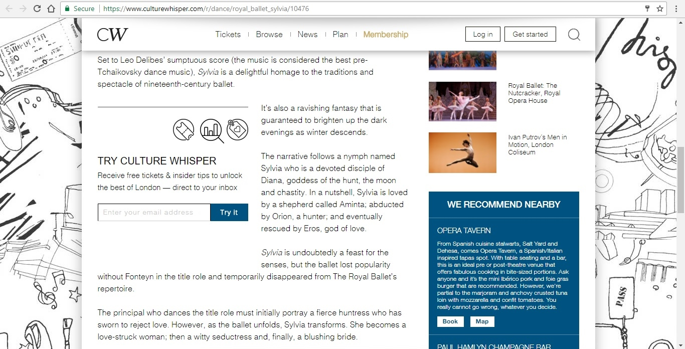 Screenshot of Culture Whisper content by Georgina Butler. Preview of The Royal Ballet: Sylvia, image 3