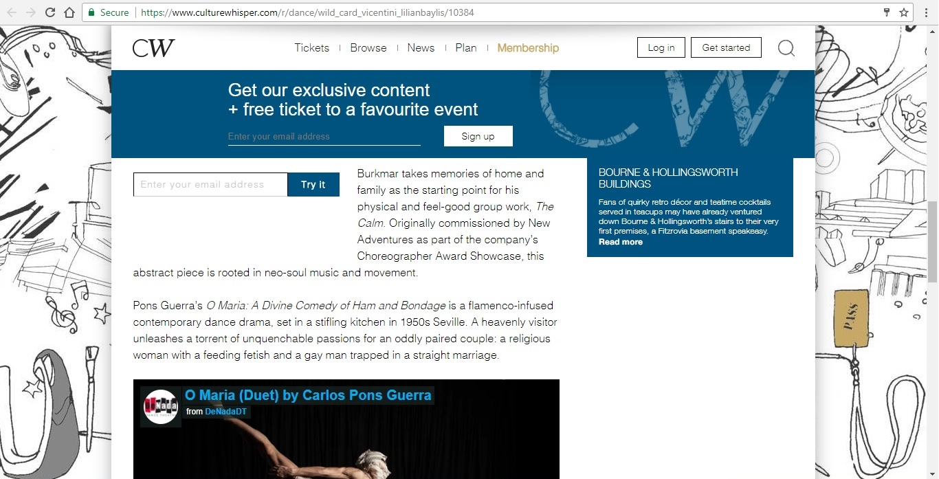 Screenshot of Culture Whisper content by Georgina Butler. Preview of Wild Card: Gianluca Vincentini, image 4