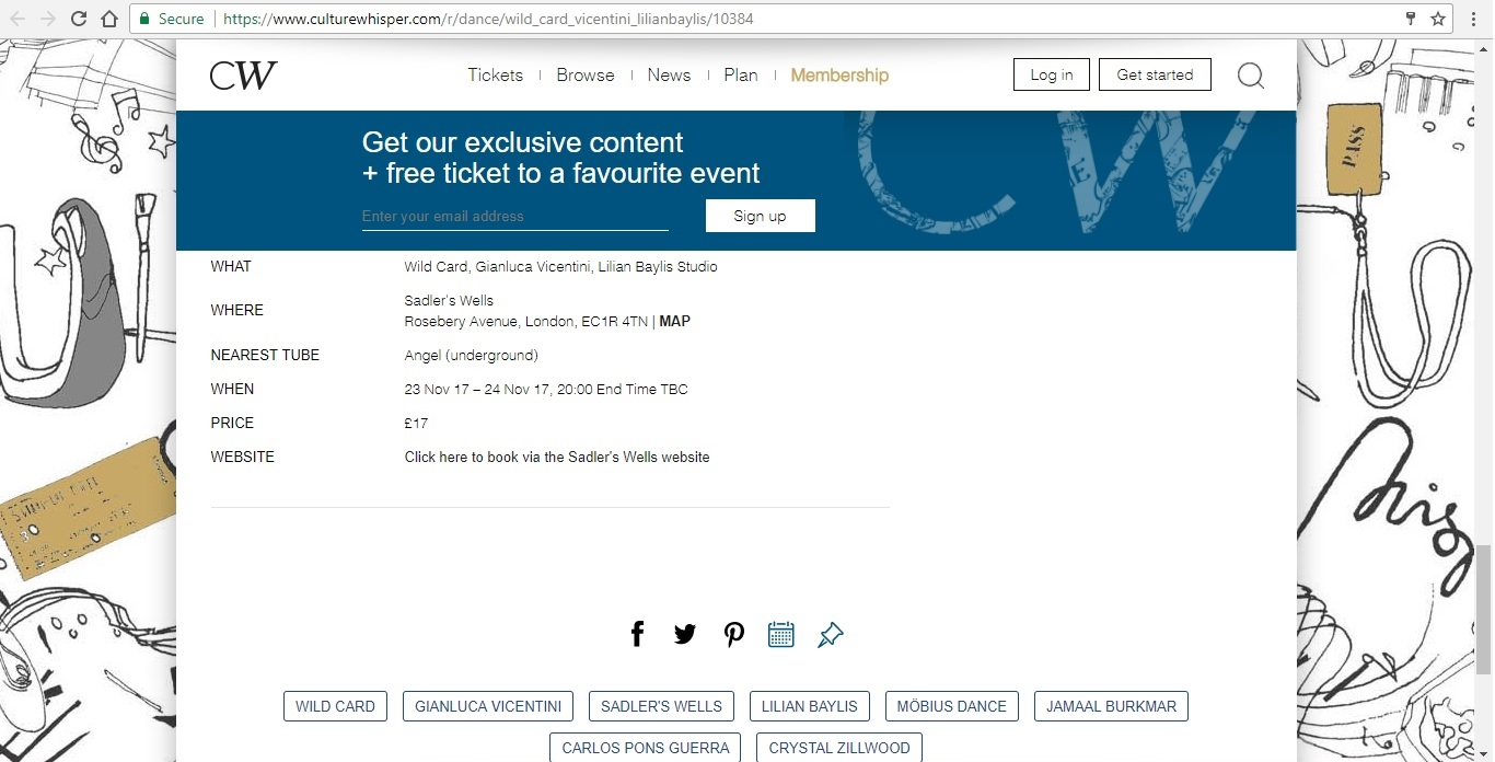 Screenshot of Culture Whisper content by Georgina Butler. Preview of Wild Card: Gianluca Vincentini, image 6