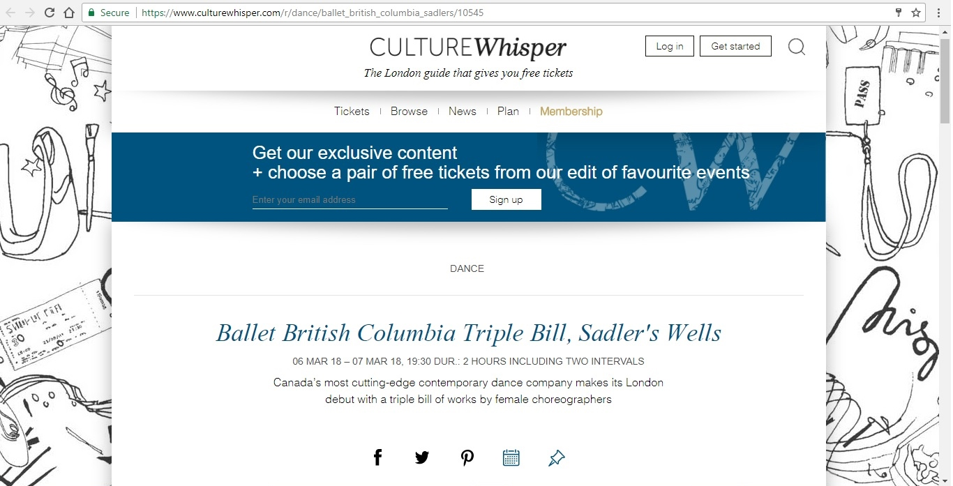 Screenshot of Culture Whisper content by Georgina Butler. Preview of Ballet British Columbia: Triple Bill, image 1