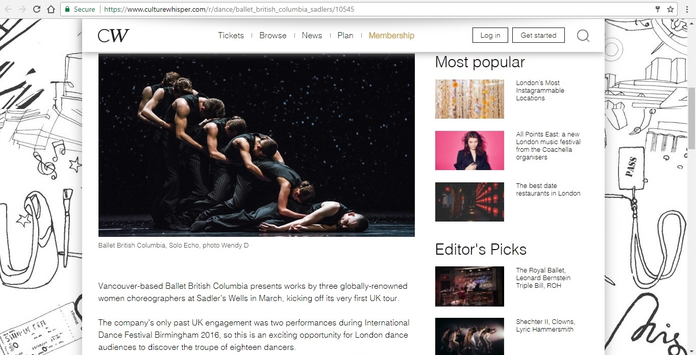 Screenshot of Culture Whisper content by Georgina Butler. Preview of Ballet British Columbia: Triple Bill, image 2