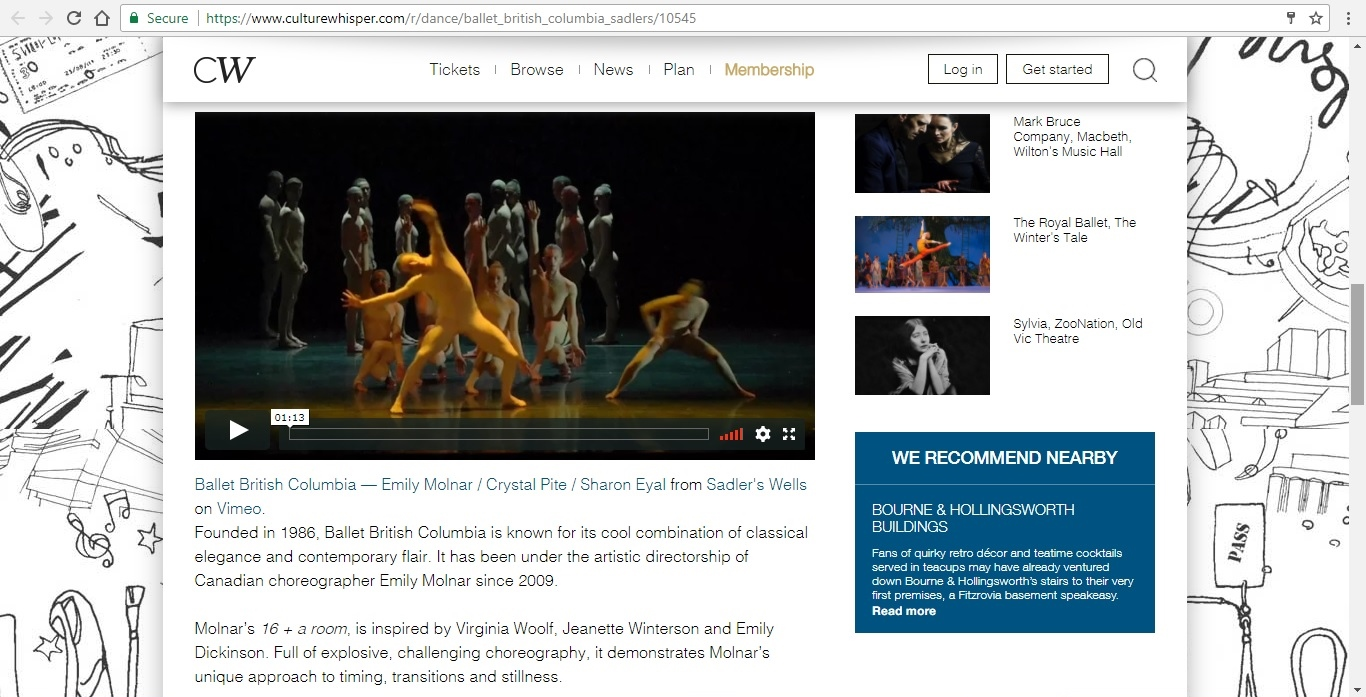 Screenshot of Culture Whisper content by Georgina Butler. Preview of Ballet British Columbia: Triple Bill, image 3
