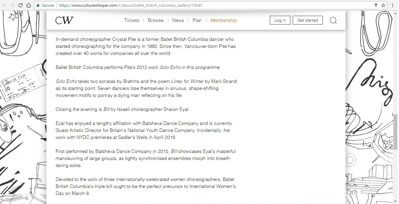 Screenshot of Culture Whisper content by Georgina Butler. Preview of Ballet British Columbia: Triple Bill, image 4