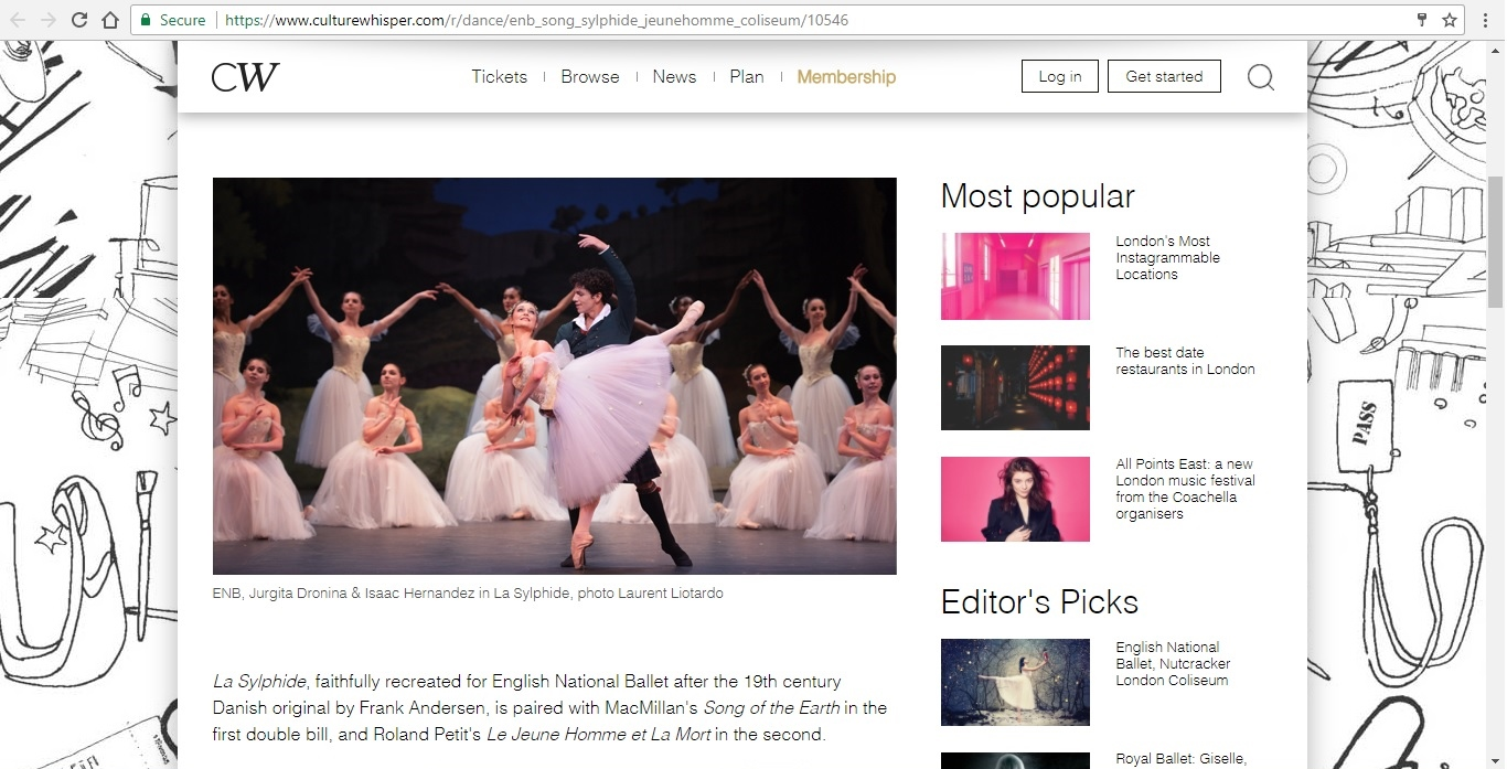Screenshot of Culture Whisper content by Georgina Butler. Preview of English National Ballet at London Coliseum, image 2
