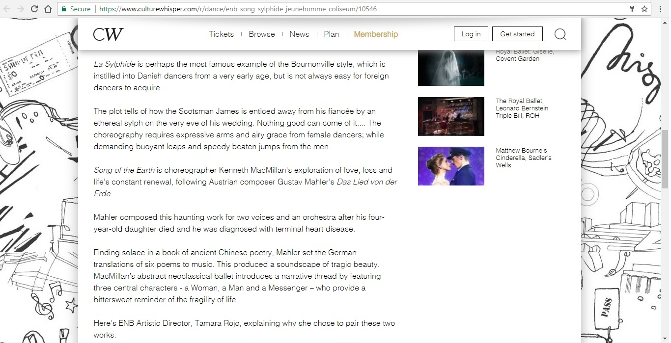 Screenshot of Culture Whisper content by Georgina Butler. Preview of English National Ballet at London Coliseum, image 3
