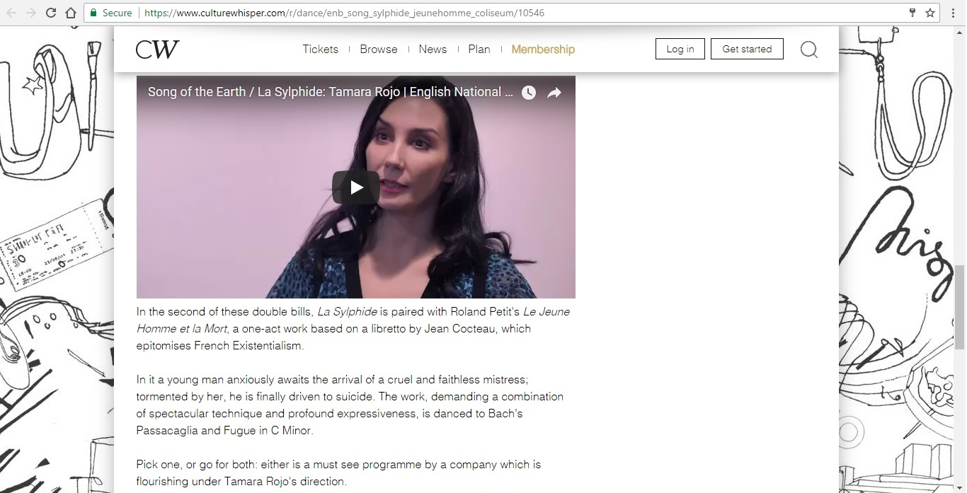Screenshot of Culture Whisper content by Georgina Butler. Preview of English National Ballet at London Coliseum, image 4