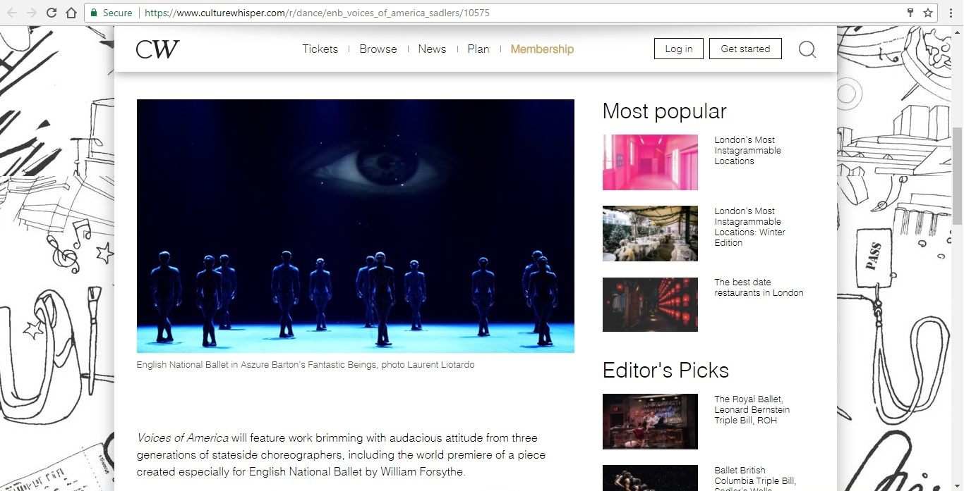 Screenshot of Culture Whisper content by Georgina Butler. Preview of English National Ballet: Voices of America, image 2