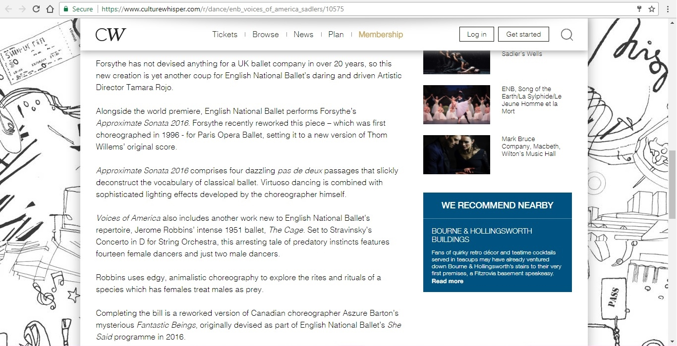 Screenshot of Culture Whisper content by Georgina Butler. Preview of English National Ballet: Voices of America, image 3