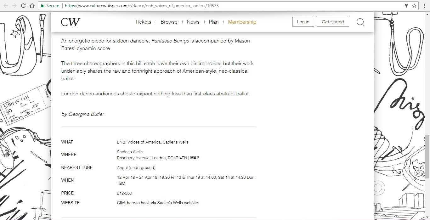 Screenshot of Culture Whisper content by Georgina Butler. Preview of English National Ballet: Voices of America, image 4