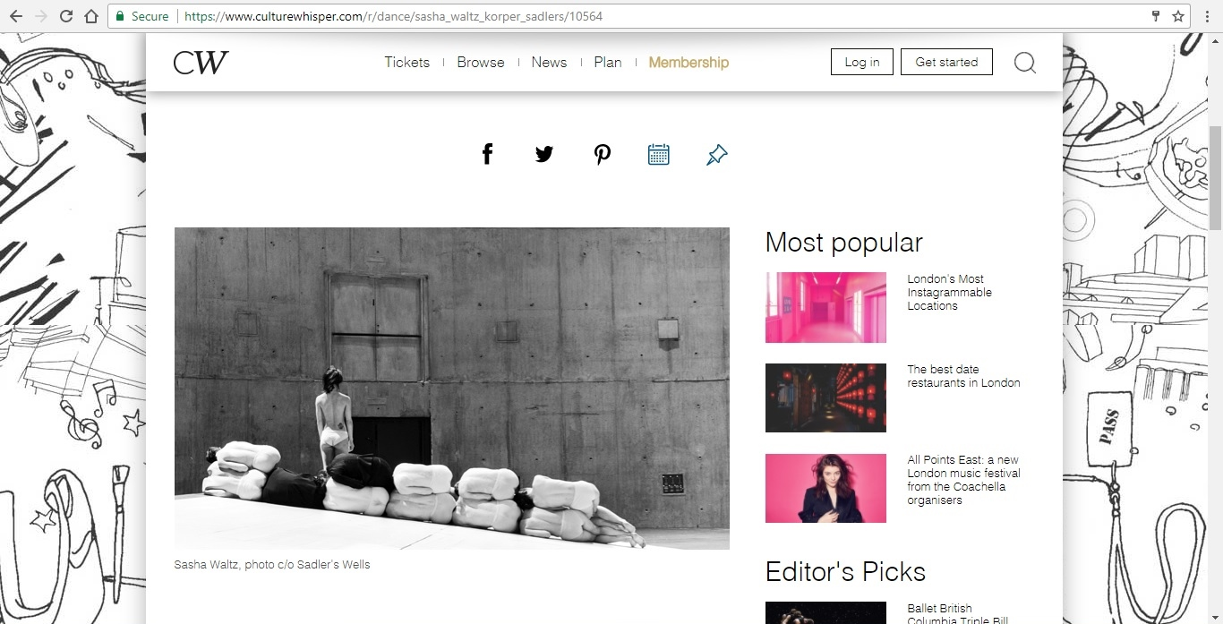 Screenshot of Culture Whisper content by Georgina Butler. Preview of Sasha Waltz and Guests: Körper, image 2