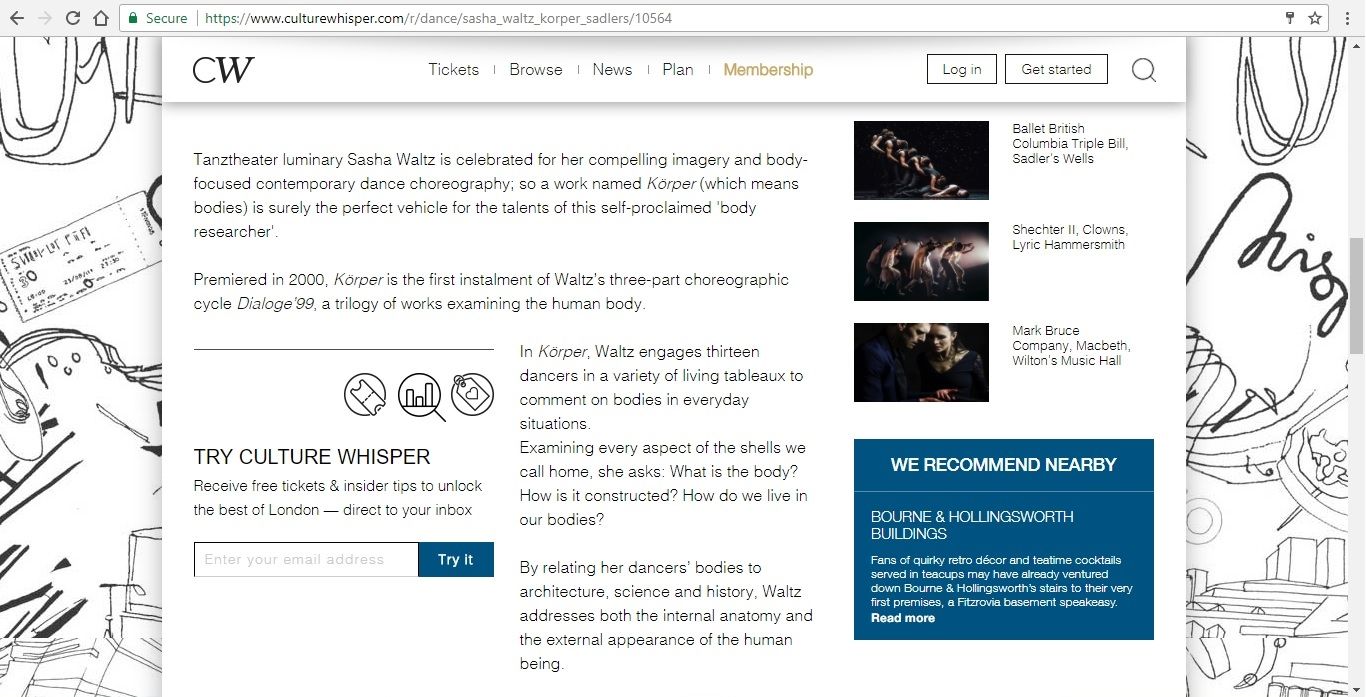Screenshot of Culture Whisper content by Georgina Butler. Preview of Sasha Waltz and Guests: Körper, image 3