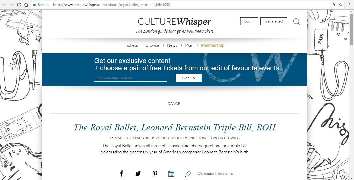 Screenshot of Culture Whisper content by Georgina Butler. Preview of The Royal Ballet: Leonard Bernstein Triple Bill, image 1