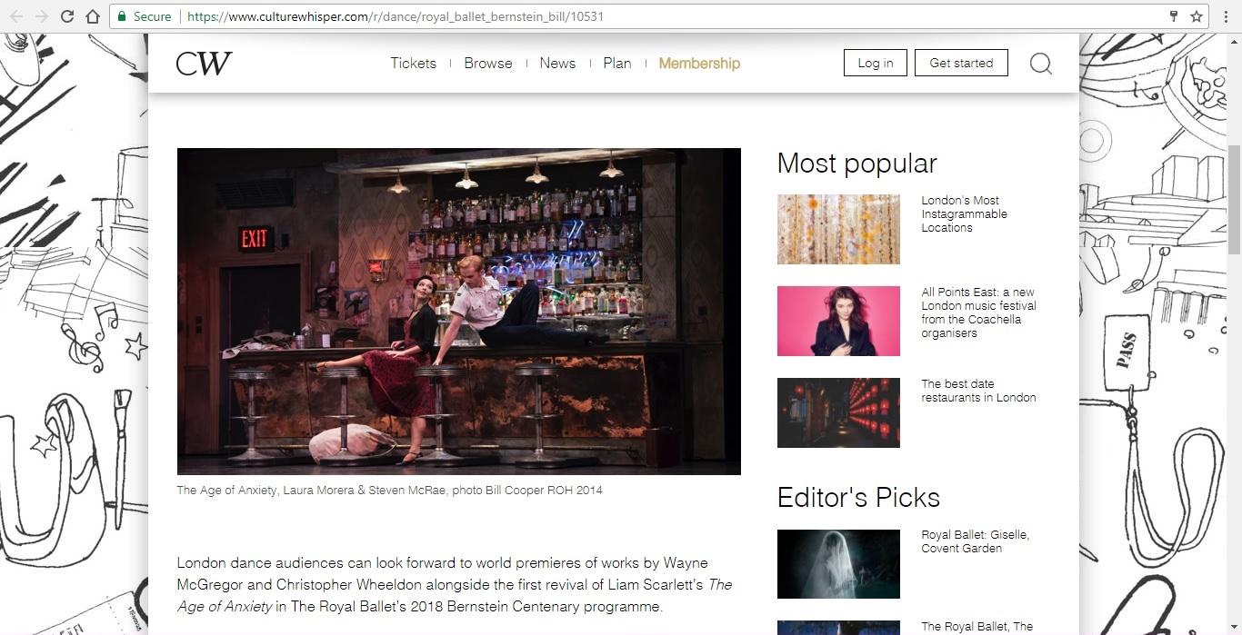 Screenshot of Culture Whisper content by Georgina Butler. Preview of The Royal Ballet: Leonard Bernstein Triple Bill, image 2