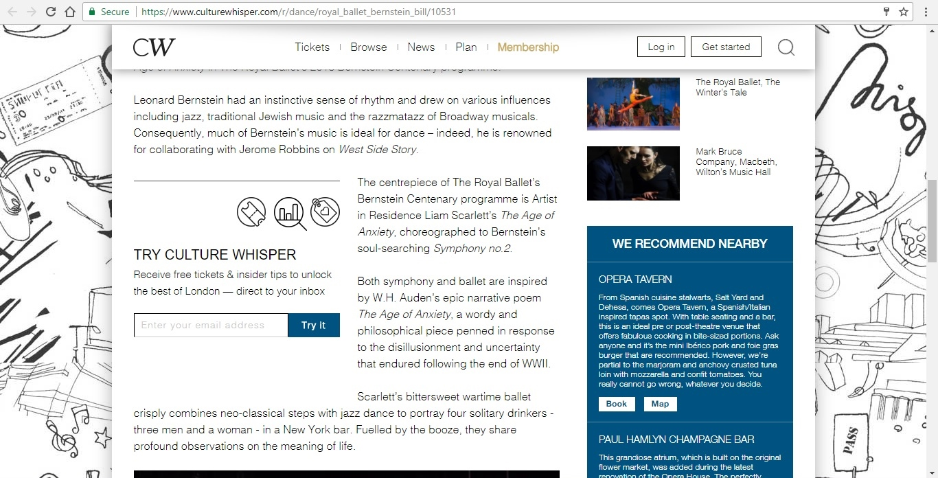 Screenshot of Culture Whisper content by Georgina Butler. Preview of The Royal Ballet: Leonard Bernstein Triple Bill, image 3