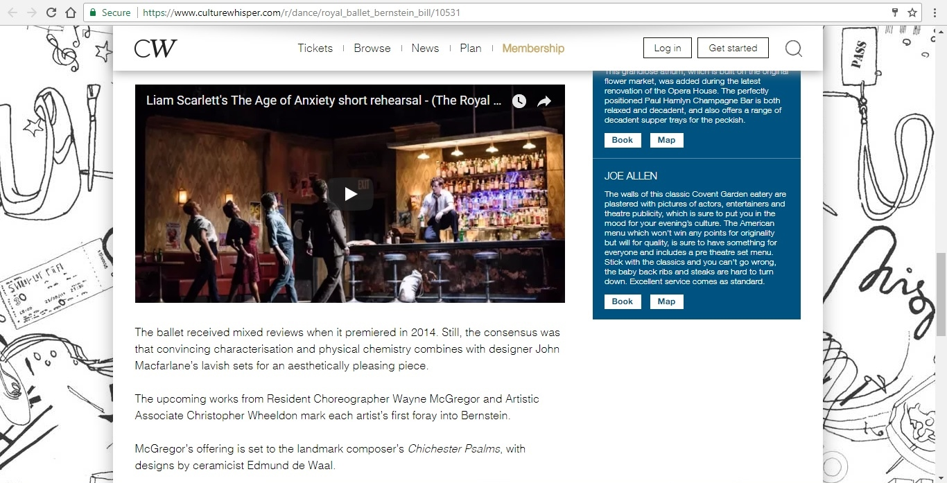 Screenshot of Culture Whisper content by Georgina Butler. Preview of The Royal Ballet: Leonard Bernstein Triple Bill, image 4