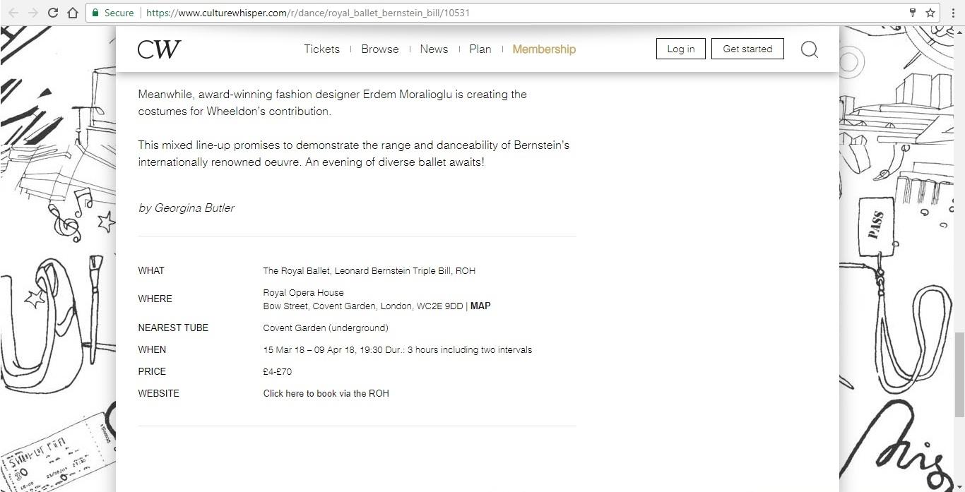 Screenshot of Culture Whisper content by Georgina Butler. Preview of The Royal Ballet: Leonard Bernstein Triple Bill, image 5