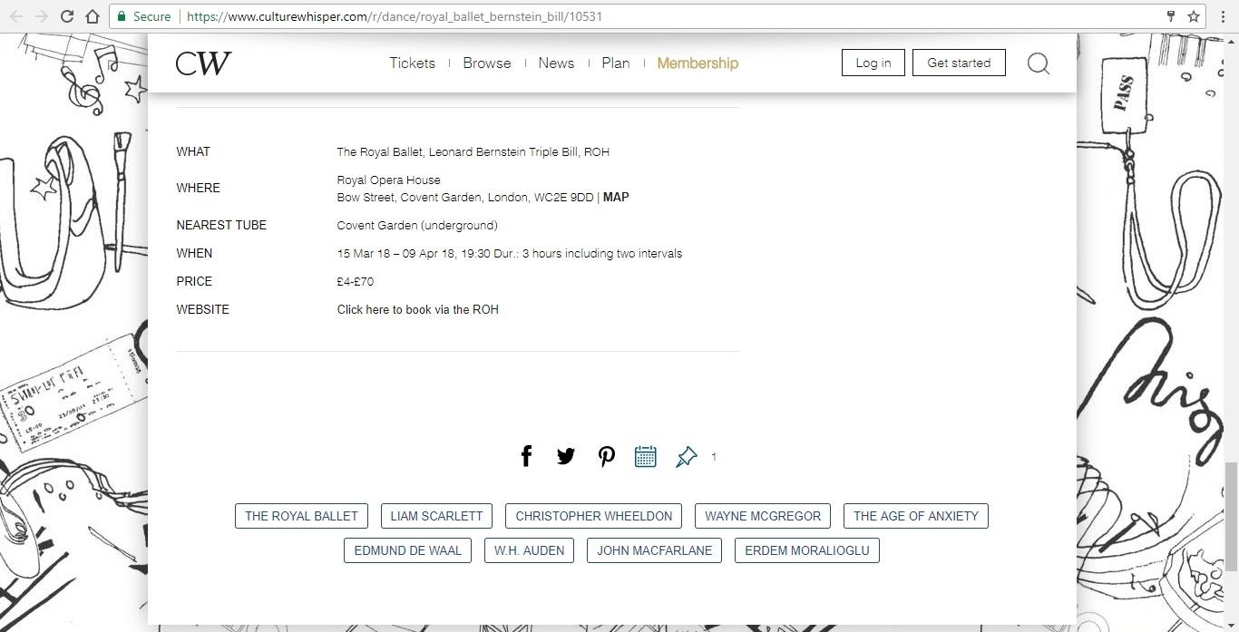 Screenshot of Culture Whisper content by Georgina Butler. Preview of The Royal Ballet: Leonard Bernstein Triple Bill, image 6