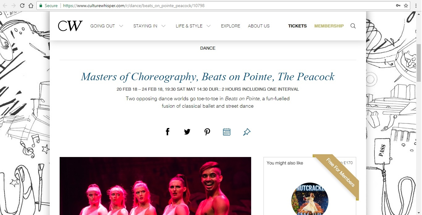 Screenshot of Culture Whisper content by Georgina Butler. Preview of Masters of Choreography: Beats on Pointe, image 1