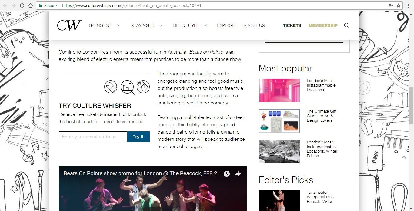 Screenshot of Culture Whisper content by Georgina Butler. Preview of Masters of Choreography: Beats on Pointe, image 3