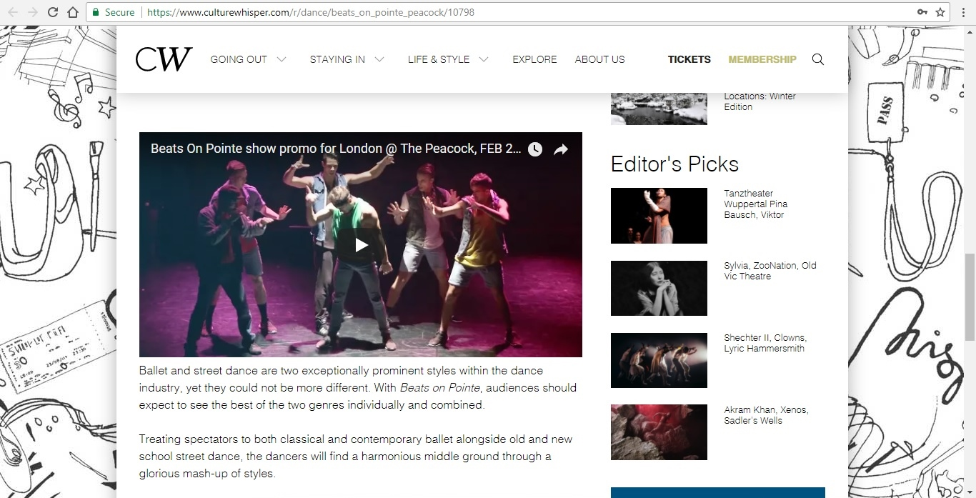Screenshot of Culture Whisper content by Georgina Butler. Preview of Masters of Choreography: Beats on Pointe, image 4