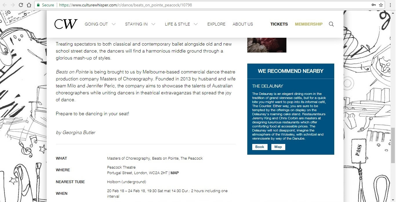Screenshot of Culture Whisper content by Georgina Butler. Preview of Masters of Choreography: Beats on Pointe, image 5