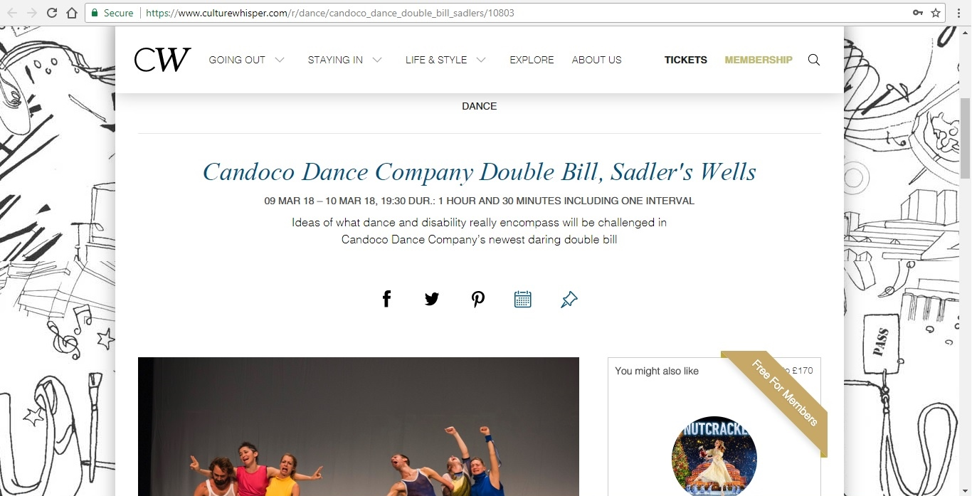 Screenshot of Culture Whisper content by Georgina Butler. Preview of Candoco Dance Company Double Bill, image 1