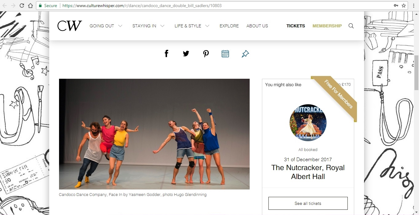 Screenshot of Culture Whisper content by Georgina Butler. Preview of Candoco Dance Company Double Bill, image 2