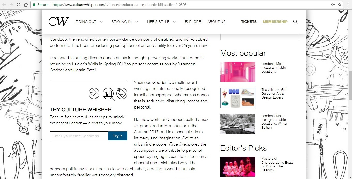 Screenshot of Culture Whisper content by Georgina Butler. Preview of Candoco Dance Company Double Bill, image 3